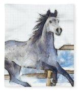 Arabian Horse And Snow - Pa Fleece Blanket