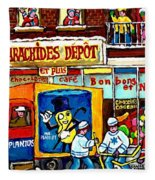 Arachides Depot Candy Shop Painting Rue De L'eglise Verdun Montreal Hockey Art Carole Spandau        Fleece Blanket
