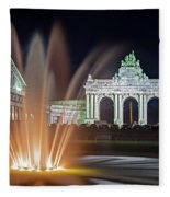 Arcade Du Cinquantenaire Fountain At Night - Brussels Fleece Blanket by Barry O Carroll