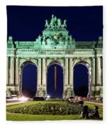 Arcade Du Cinquantenaire At Night - Brussels Fleece Blanket
