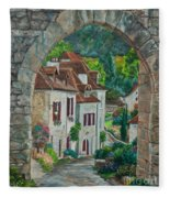 Arch Of Saint-cirq-lapopie Fleece Blanket