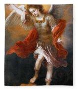 Archangel Michael Hurls The Devil Into The Abyss Fleece Blanket