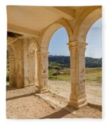 Arches And Stairs Of Derelict Agios Georgios Church Fleece Blanket