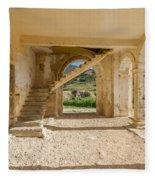Arches, Entrance And Stairs Of Derelict Agios Georgios Church Fleece Blanket