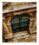 Architectural Green Door Dibrovnik Fleece Blanket
