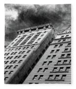 Architecture Tall Buildings Bw Nyc  Fleece Blanket