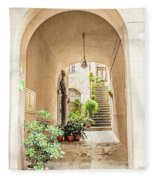 Archway And Stairs In Italy Fleece Blanket