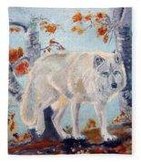 Arctic Wolf Fleece Blanket