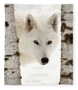 Arctic Wolf Seen Between Two Trees In Winter Fleece Blanket