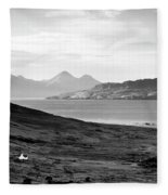 Ardnamurchan Landscape Toward The Islands Of Eigg And Rhum.    Black And White Fleece Blanket