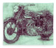 Ariel Square Four 3 - 1931 - Vintage Motorcycle Poster - Automotive Art Fleece Blanket