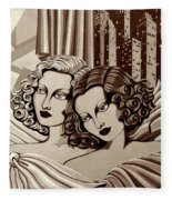 Arielle And Gabrielle In Sepia Tone Fleece Blanket