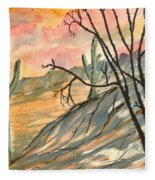 Arizona Evening Southwestern Landscape Painting Poster Print  Fleece Blanket
