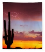 Arizona Lightning Sunset Fleece Blanket