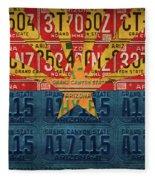 Arizona State Flag Vintage License Plate Art Fleece Blanket
