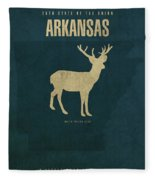 Arkansas State Facts Minimalist Movie Poster Art Fleece Blanket