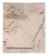 Arkansas State Usa 3d Render Topographic Map Neutral Border Fleece Blanket