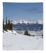 Arkansas Valley From Mount Elbert Colorado In Winter Fleece Blanket
