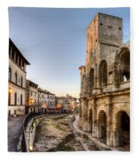 Arles Streets And Arena Fleece Blanket
