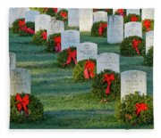 Arlington National Cemetery At Christmas Fleece Blanket