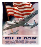 Army Air Corps Recruiting Poster Fleece Blanket