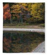Around The Bend- Hiking Walden Pond In Autumn Fleece Blanket