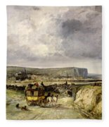 Arrival Of A Stagecoach At Treport Fleece Blanket