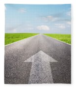 Arrow Sign Pointing Forward On Long Empty Straight Road Fleece Blanket