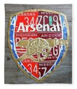 Arsenal Football Team Emblem Recycled Vintage Colorful License Plate Art Fleece Blanket