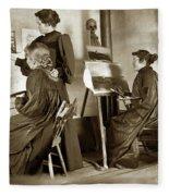 Art Class Oil Painting Teacher  And Art Students 1900 Fleece Blanket