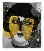 Art Deco Butterfly Woman Fleece Blanket