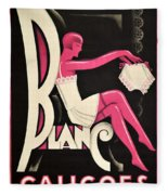 Art Deco Paris Lingerie Ad Fleece Blanket