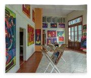 Art Gallery In Havana Fleece Blanket