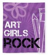 Art Girls Rock Fleece Blanket