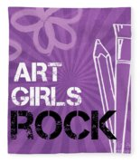 Art Girls Rock Fleece Blanket