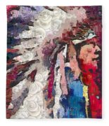 Art Indian Chief Pearlesques In Fragments  Fleece Blanket