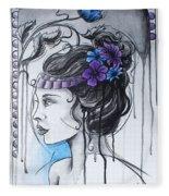Art Nouveau Girl 1 Fleece Blanket