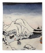 Art Of Buddhism And Shintoism And Two Paths In The Snow Fleece Blanket