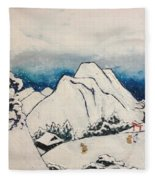 Art Of Japan And The Two Paths Of Shintoism And Buddhism - Holy Men In The Snow Without Abraham Fleece Blanket
