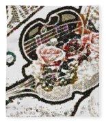 Art Violin And Roses Pearlesqued In Fragments  Fleece Blanket