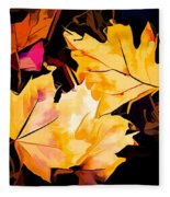 Artful Maple Leaves Fleece Blanket
