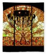 Artful Stained Glass Window Union Station Hotel Nashville Fleece Blanket