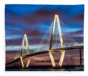 Arthur Ravenel Bridge At Night Fleece Blanket