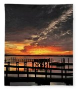 Artistic Black Sunset Fleece Blanket