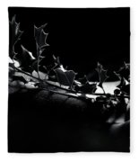 Artistic Nude Abstract Closeup Of A Thorny Holly Tree Branch On  Fleece Blanket