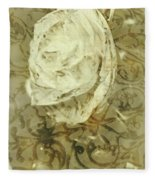 Artistic Vintage Floral Art With Double Overlay Fleece Blanket