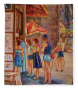 Artists Corner Rue St Jacques Fleece Blanket