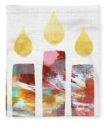 Artists Menorah- Art By Linda Woods Fleece Blanket