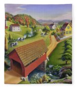 Folk Art Covered Bridge Appalachian Country Farm Summer Landscape - Appalachia - Rural Americana Fleece Blanket