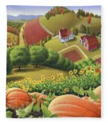 Farm Landscape - Autumn Rural Country Pumpkins Folk Art - Appalachian Americana - Fall Pumpkin Patch Fleece Blanket